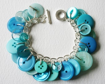 Button Bracelet Aqua Sea Foam Blue Green