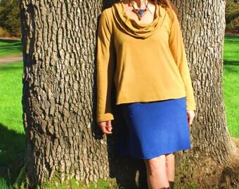 Scoop Cowl Long Sleeve Top, Organic Cotton Jersey