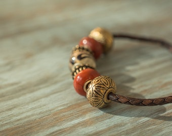 Brown Braided Genuine Leather Cord Boho Bracelet with Large Beads in Gold and Red
