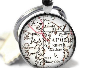 Annapolis Map Keychain, Maryland Map Keychains, Boyfriend Keychain, Dad Keychain, Gifts for Men, Military Gift, Mens keychain