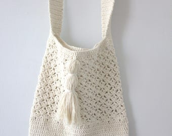 Natural Bag, Ecru Cotton Tote, Shoulder Bag, cross body, long, Crochet Bag,