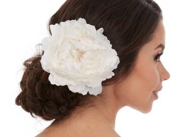 Hair Piece Flower - White flower hair piece - Peony Hair Piece - Peony Hair Clip - White peony hair piece -  Bridal Hair Flower