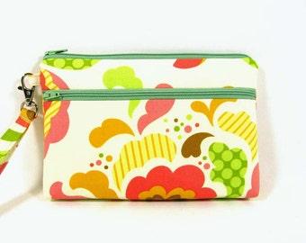 Floral iPhone 6 plus purse, cell phone wristlet , credit card wallet, makeup bag, zipper pouch
