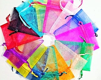 50 Organza Bags. 4x6 Bright Sheer Wedding Favor, Birthday Party Celebration gift wrap for jewelry, candy