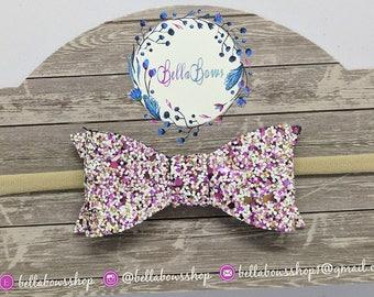 "Fashionista Glitter Hair Bow-Alligator Clip-Baby Headband-Photo Prop-Chunky Glitter-Toddler Hair Bow-3"" Hair BowGlitter Hair Bow"