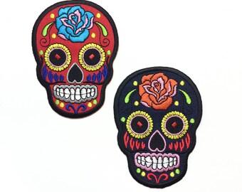 """Sugar Skull (paire) - choisissez votre couleur - patchs - fer-sur Badge - le jour des morts - grandeur 2 """"x 4» (KIT014)"""