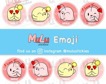 DIGITAL DOWNLOAD - Set of 4 MuLu Emoji || Valentine's Day Edition || Love and Kiss