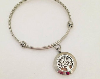 Tree of Life  Stainless Steel Aromatherapy Bracelet - Essential Oil Diffuser Bracelet - Aromatherapy Pendant - Essential Oil Bracelet