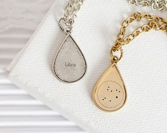 Libra Star Sign Necklace, Teardrop Necklace, Libra Constellation Necklace, Libra Gold Necklace, Horoscope Necklace, Libra Birthday Gift