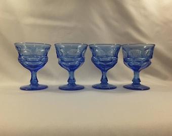 Vintage Fostoria Cobalt Blue,Royal Blue Dessert/Tall Sherbert/Wine/Parfait Glasses, Set of 4