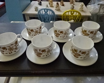 Set of 6 Arcopal France Cup's & Saucer's/Brown/Yellow Floral design/1970's/Vintage