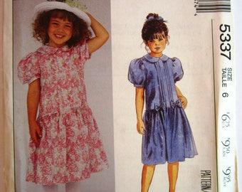 Little Girls Dropped Waist Dress, Gathered Skirt, Short Puffed Sleeves with Barrel Cuffs Size 6 Laura Ashley McCalls Pattern 5337 UNCUT