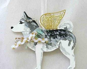 Hand-Painted SIBERIAN HUSKY Metal Wing Angel Wood Ornament