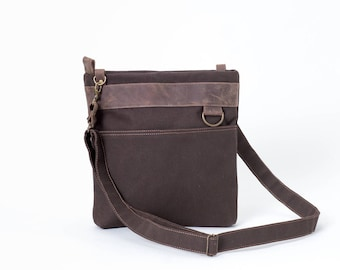 Brown Small Canvas Messenger Shoulder iPad Bags For Men & Women Urban
