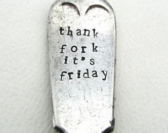 Thank Fork It's Friday, Sweary Rude Handstamped Vintage Fork, Hand Stamped British Vintage Tableware, Funny Cutlery, TFI Friday