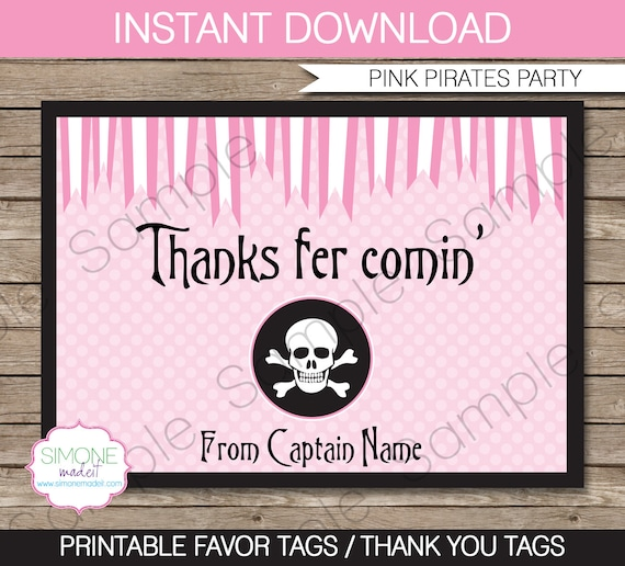 pirate party favor tags thank you tags birthday party