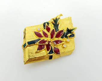 Vintage Gold Tone Christmas Package Brooch With Red & Green Enamel Poinsettia and Ribbon