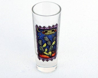 "Tequila Shot Glass, Jose Cuervo Tequila Falling Limes Shot Glass Shooter Shot Glass - 3 1/2"" Tall Jose Cuervo, Vintage Shot Glass"