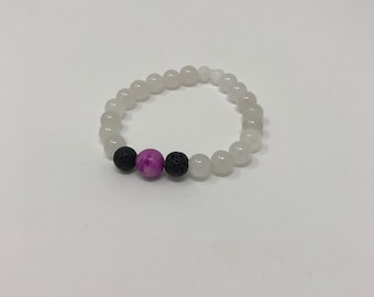 White Quartzite Stone Bracelet with Purple Center Stone and Black Lava Beads