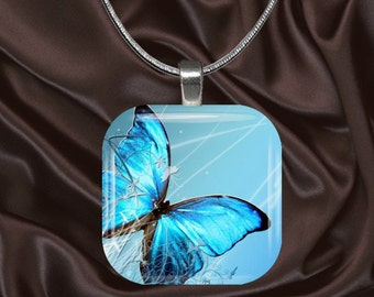 Turquoise Butterfly Glass Tile Pendant with chain(CuBu2.4)