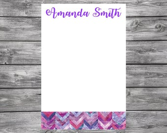 Notepad-Personalized-Pink and Purple Chevron- Watercolor-4x6