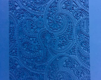 EASTERN PAISLEY Rollable Texture Tile Rubber Stamps for Clays, Quilts, Inks   RTT153