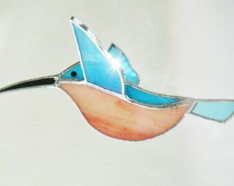 Handmade stained glass 3D hummingbird in turquoise. Glass bird sun catcher window hanging ornament, garden decor, birthday gift for friend.