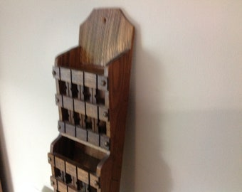 Vintage Wood Mail Holder Organizer Wall Mount Two Pocket Mail/Letter  Organizer With Cubby