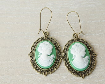 Green cameo earrings  Christmas gift Victorian earrings Women cameo Jewelry Bronze Vintage earrings Lady Cameo Bridesmaid Gift for her