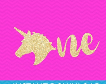 unicorn first birthday svg, unicorn birthday svg, first birthday girl svg, svg files for Silhouette, cuttables