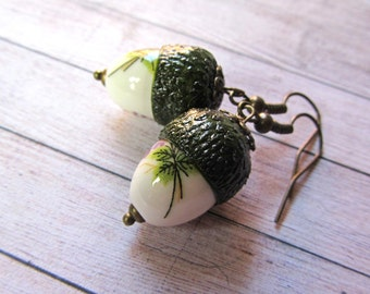 Earrings acorn jewelry, Forest Jewelry Autumn Earrings, Oak dried plant and ceramic dangle, Fall Earring Woodland art, Forest gift for her