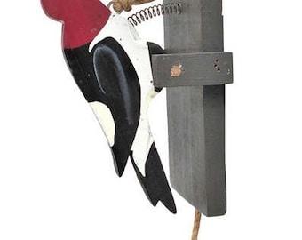 Handmade Woodpecker Pull String Door Knocker