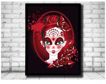 day of the dead, picture art, rockabilly art, day of the dead girl, wall decor, la muerte drawing, big eye art, big eyes, big eye girl