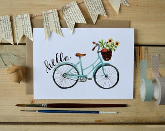 Friendship Note Card, Bicycle Art Card, Watercolor Note Card, Just Because Card, Bike Art Print, Bike Ride- 5x7