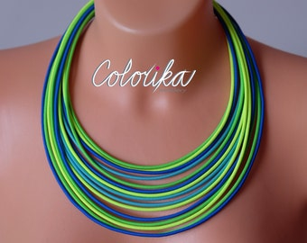 Green statement necklace, Neon tribal necklace, Multi strand necklace, Tribal necklace, Colored jewelry, Neon Minimalist necklace