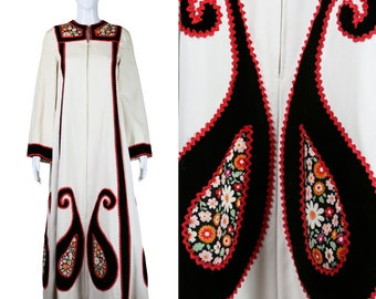 Malcolm Starr Dress Applique Robe Dress Paisley Swirls Dress 1970s Dress Wearable Art 70s Gown