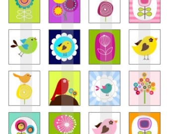 Birds And Blooms - one 4x6 inch digital sheet of scrabble size (0.75 x 0.83 inches) images for scrabble tiles, magnets, stickers etc.