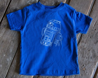 Screen Printed Droid T-shirt, R2D2 eco-friendly waterbased inks