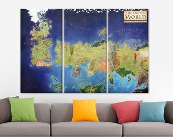 Game of Thrones Old World Map Canvas Game Of Thrones Map Seven Kingdoms Map Old Westeros Map Game of Thrones  Art Old Essos Map Jon Snow