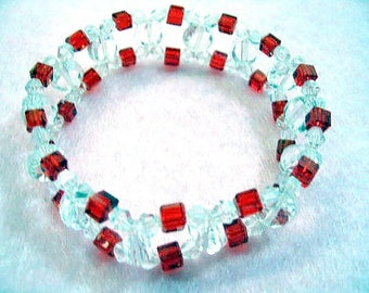 Red Cube and Clear Faceted Crystal Beadwoven Bracelet, Nonmetal Beads, Red Bead Stretch Cuff Bracelet, Jewelry On Sale