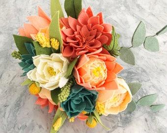 Felt Flower Wedding Bouquets, Wedding Bouquet, Mother's Day Flowers, Wedding Rehearsal Bouquet, Bridesmaid Bouquets, Valentine's Flowers
