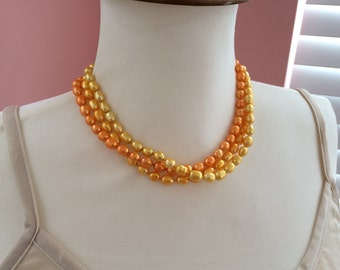 Yellow multi strand pearl necklace, knotted pearl necklace, multi layer orange freshwater pearl necklace, bright yellow pearls. Three strand