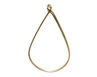2 Brass Ear Wire, Long Ear Wire, Hoops, Earring Drops, 69x35 mm