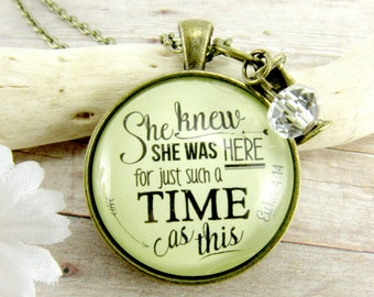 She Knew She Was Here For Such a Time Bible Verse Necklace, Hourglass Pendant Makes Great Teen Gift Inspirational Necklace Religious Jewelry