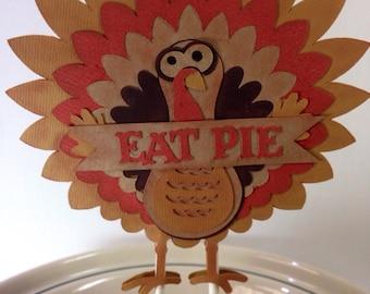 Thanksgiving Turkey Eat Pie Topper, Thanksgiving Centerpiece, Thanksgiving Decor Cake Topper, Friendsgiving, Eat Pie Sign, Cute Turkey Sign
