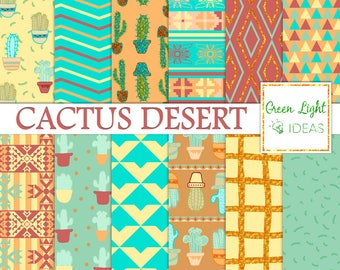 Cactus Digital Paper, Cacti Scrapbook Papers, Mexican Printable Papers, Southwest Digital Paper, Cacti Digital Paper, Desert Backgrounds
