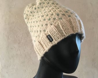 Hand knitted Cosy Winter hat in Icelandic Lambwool
