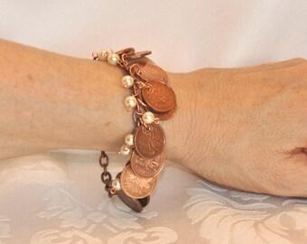 Upcycled Pennies, Repurposed Canadian Pennies Bracelet 1970s 1980s 1990s, 10 coins bracelet, 9 Pearls, OOAK, Copper Bracelet