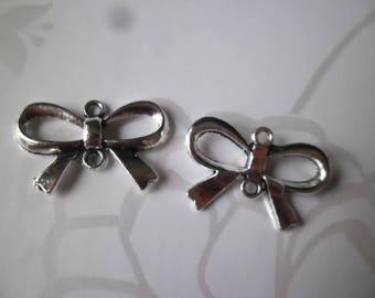 x 5 pendants silver bowtie connectors antiqued 14 x 21 mm