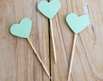 Mint Heart Cupcake Topper, Mint Green Cake Topper, Mint Wedding Cupcake Topper, Mint Birthday Party Pick, Mint Heart Dessert Topper